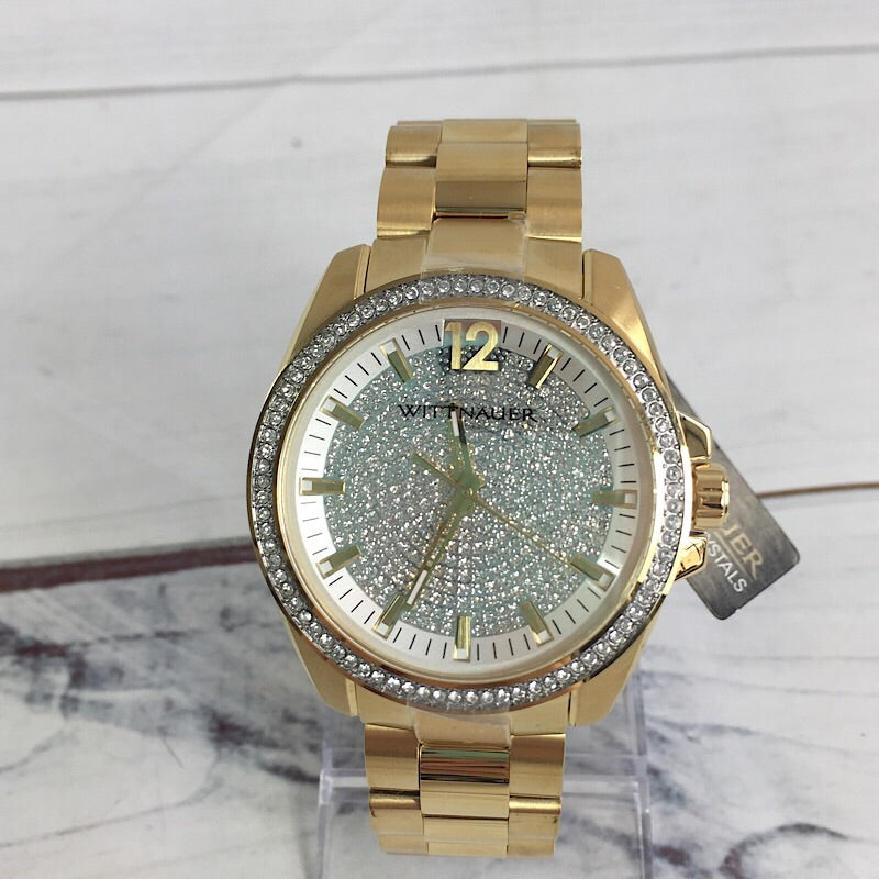 Wittnauer WN3072 Men's 44mm Pave Gold Tone Quartz Stainless Steel Watch - Deluge Sales