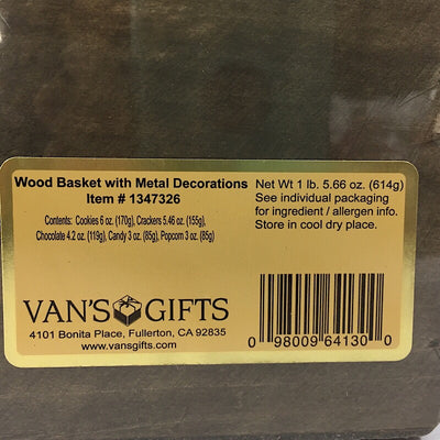Vans Wood Basket with Metal Decorations