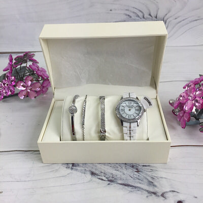 Anne Klein New York Women's Stainless Steel Ceramic Watch and Bangle Set - Deluge Sales