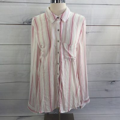 Love, Fire Women's Pink Stripe Printed Perfect Shirt Size XL