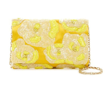 Oscar de la Renta Petite Evening Convertible Yellow Shoulder Bag