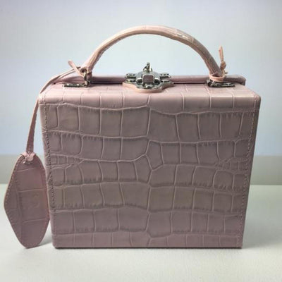 Pop & Suki Personalized Leather Box Bag - Mauve Croc | Deluge Sales