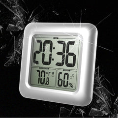BALDR CL0006 Digital Shower Clock | Waterproof - Perfect for the Bathroom, Large LCD Display - Monitor Temperature and Humidity - Thermometer & Hygrometer, Shatterproof Fiberglass