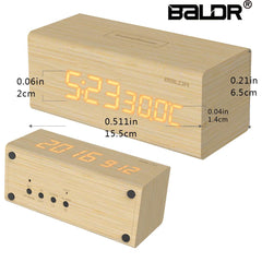 Touch Sensitive Wood LED Digital Clock with Time, Date,Temperature - BALDR Electronic