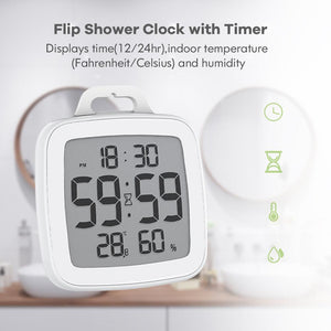 BALDR CL0008 Digital Shower Clock with Timer - Waterproof for Bathrooms - Displays Time, Temperature & Humidity - w/ Built-in Stand & Wall Mount Hole - BALDR Electronic