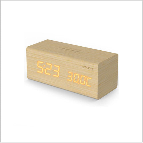 LED Real Wood Digital Alarm Clock