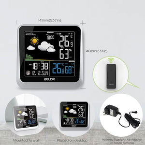 BALDR WS0336 Color Display Digital Wireless Indoor/Outdoor Weather Station | Thermometer & Hygrometer - Displays Temperature, Humidity, and Barometer - Constant Backlight with Dimmer - Power Adapter Included