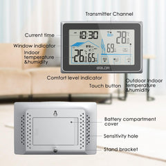 BALDR Digital Indoor Outdoor Thermometer & Hygrometer Touch Screen Wireless Weather Station with Temperature Monitor Humidity Gauge with Back-Light
