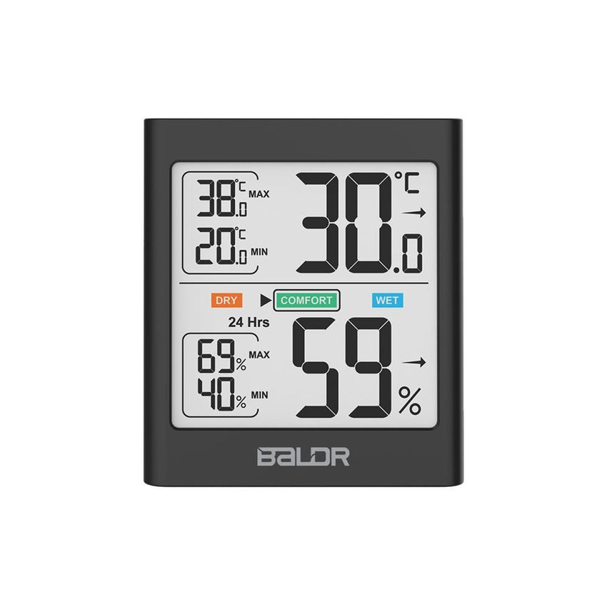 BALDR TH0135 Digital Indoor Thermometer Hygrometer with Motion Motivated Backlight
