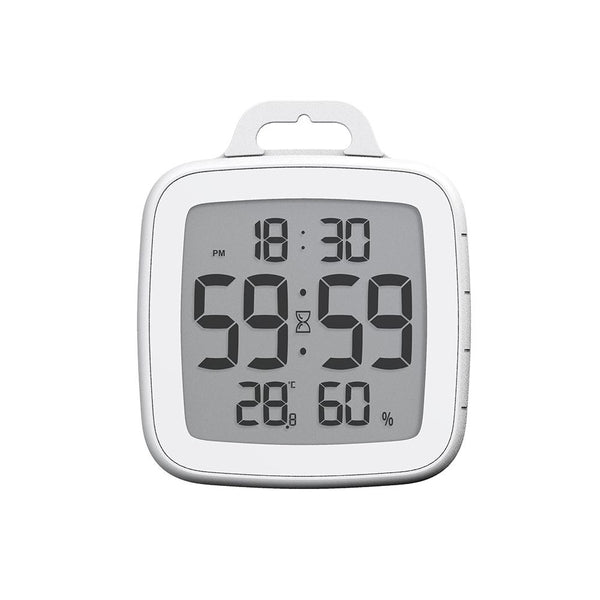 BALDR Waterproof Shower Clock with Timer for Bathroom - Wall Mounted LCD Clock Displays Time, Temperature & Indoor Relative Humidity, Flip Kickstand Design