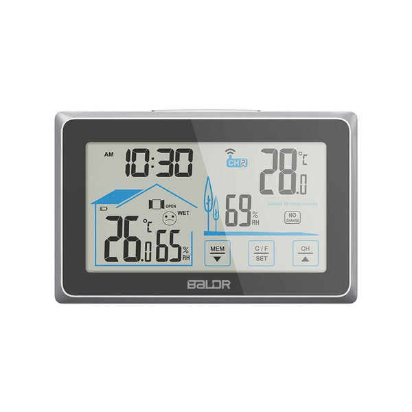 BALDR WS0340 Digital Indoor Outdoor Thermometer & Hygrometer, Touch Screen, Wireless Weather Station, Temperature Monitor, Humidity Gauge,  with Back-Light