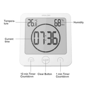 BALDR CL0007s 2xSet of Waterproof Alarm Clock w/Timer for Bathroom Shower - Wall Mounted LCD Clock Displays Time, Temperature & Indoor Humidity - BALDR Electronic
