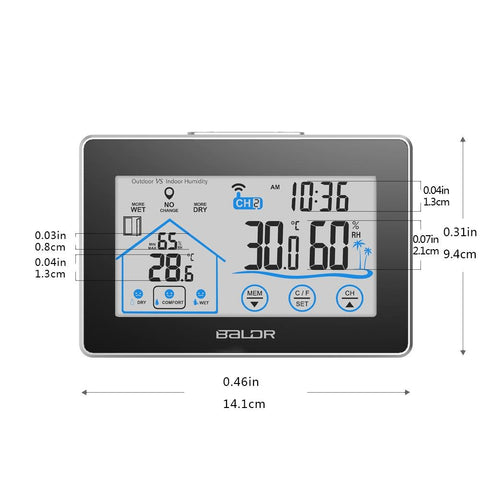 LCD Touch Button In/Outdoor Thermo-Hygrometer - BALDR Electronic