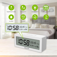 BALDR CL0337 Digital Alarm Clock Large LCD Screen Big Time Display Table Travel Clock