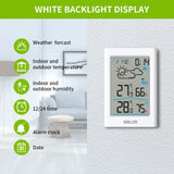 BALDR WS0341 Indoor & Outdoor Thermometer and Hygrometer with White Backlight, Digital Wireless Weather Station, Temperature Monitor & Humidity Gauge, Battery-Operated