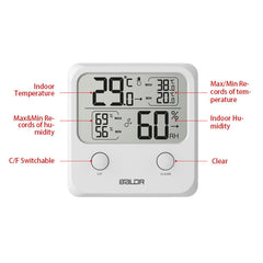 Digital Thermo-Hygrometer Square Thermometer White