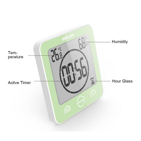 BALDR CL0007 Waterproof Alarm Clock with Timer for Bathroom Shower - Wall Mounted LCD Clock Displays Time, Temperature & Indoor Relative Humidity