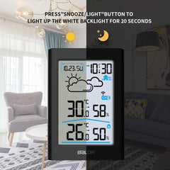 BALDR Digital Indoor Outdoor Thermometer & Hygrometer with White Backlight Wireless Weather Station Temperature Monitor Humidity Gauge Meter Battery-Operated