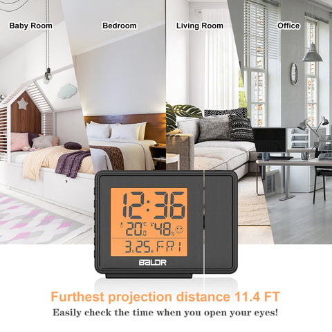 BALDR Digital Time Projection Alarm Clock WWVB - Atomic Time Projector on Ceiling Wall with Orange Backlight, Calendar Temperature Display, Adjustable Brightness