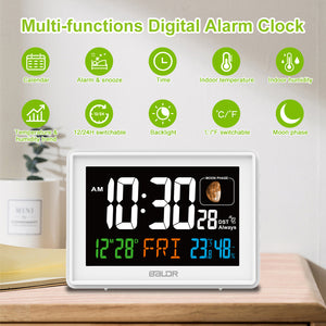 BALDR CL0304 Large Digital Wall Clock with Indoor Temperature & Calendar