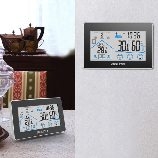 BALDR WS0317BL2 Digital Wireless Hygrometer, Indoor & Outdoor Thermometer - Backlit LCD Touch Screen Weather Station - Monitor Temperature & Humidity, Weather Forecaster with Remote Sensor