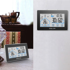 Indoor/Outdoor Thermometer-Hygrometer with LCD Touch Screen Set Up