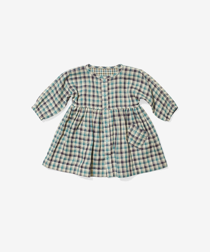 Cecil Baby Dress, Teal Plaid