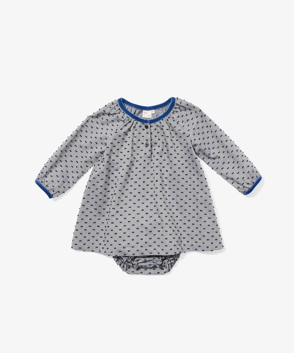 Elizabeth Baby Dress, Navy Swiss Dot