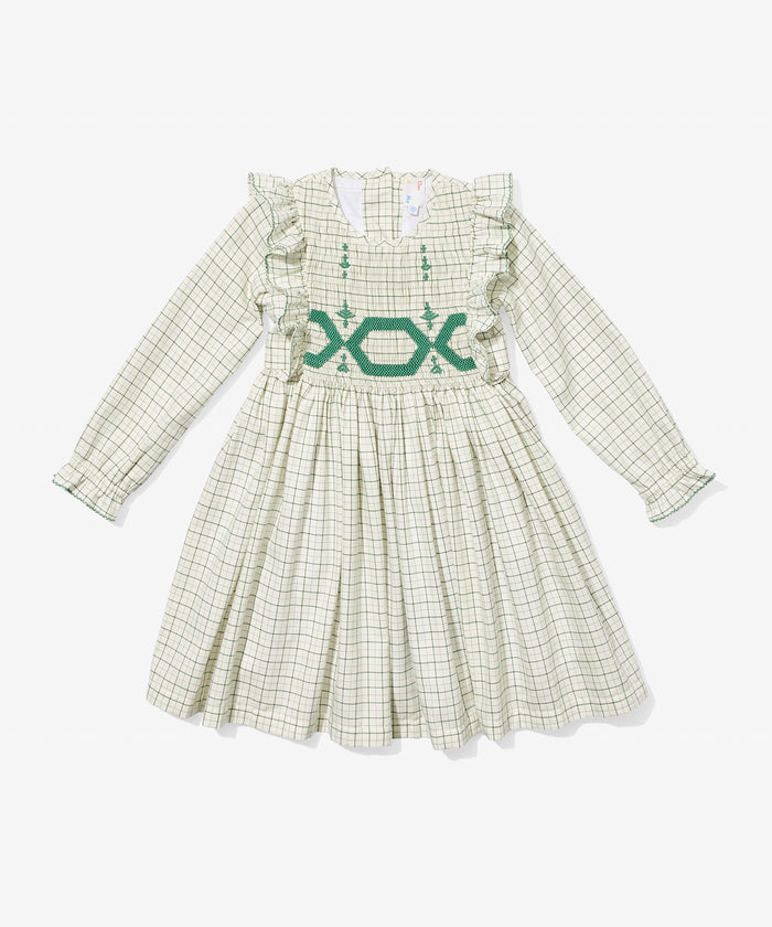 Emily Dress, Green Tattersall
