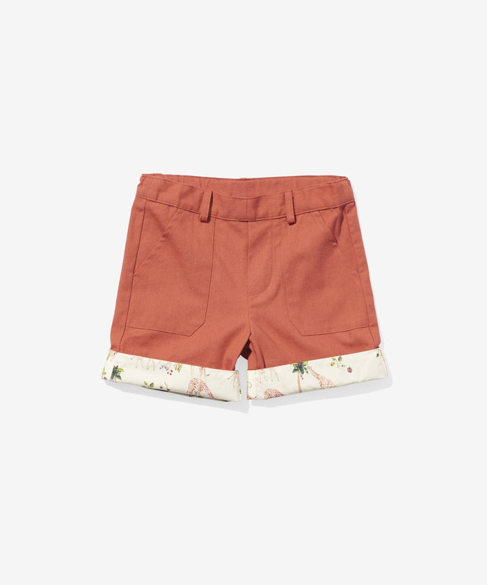 Faux Short, Red/Giraffe