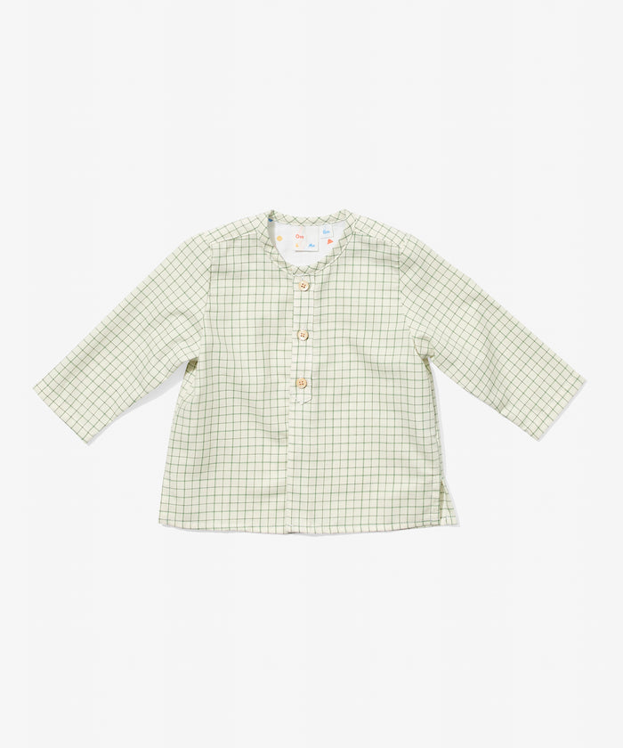 Lupo Baby Shirt, Green Tattersall