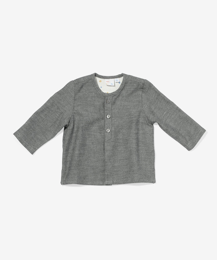 Lupo Baby Shirt, Charcoal Flannel