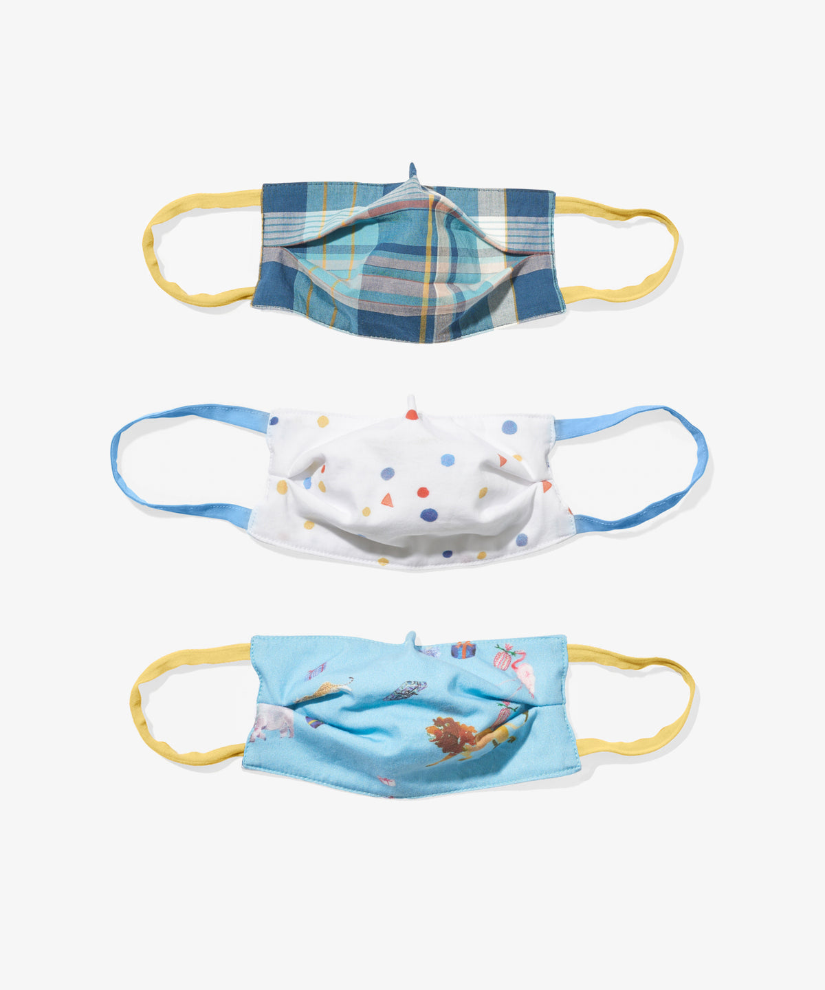Child Mask 3 Pack, Animal Party and Plaid