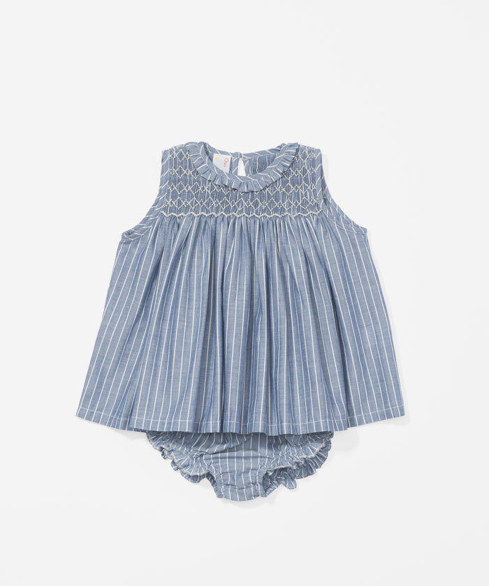 Nora Baby Dress, Chambray Stripe