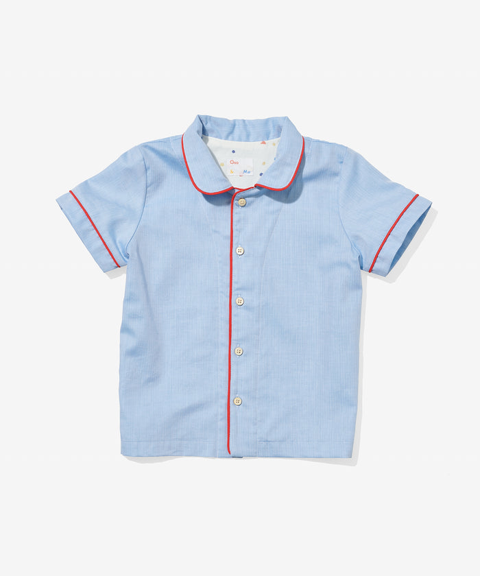 Robinson Shirt, Blue Herringbone