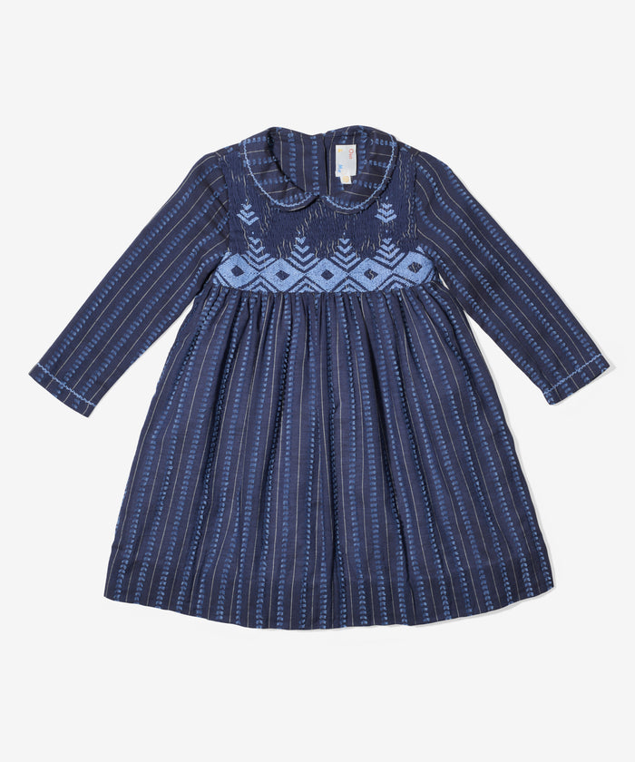 Emily Dress, Indigo Swiss Dot