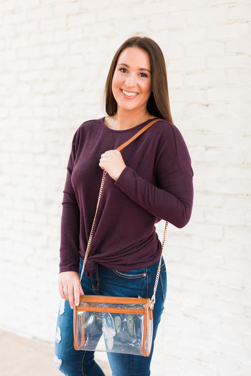Go Clear Stadium Purse - Brandy Brown