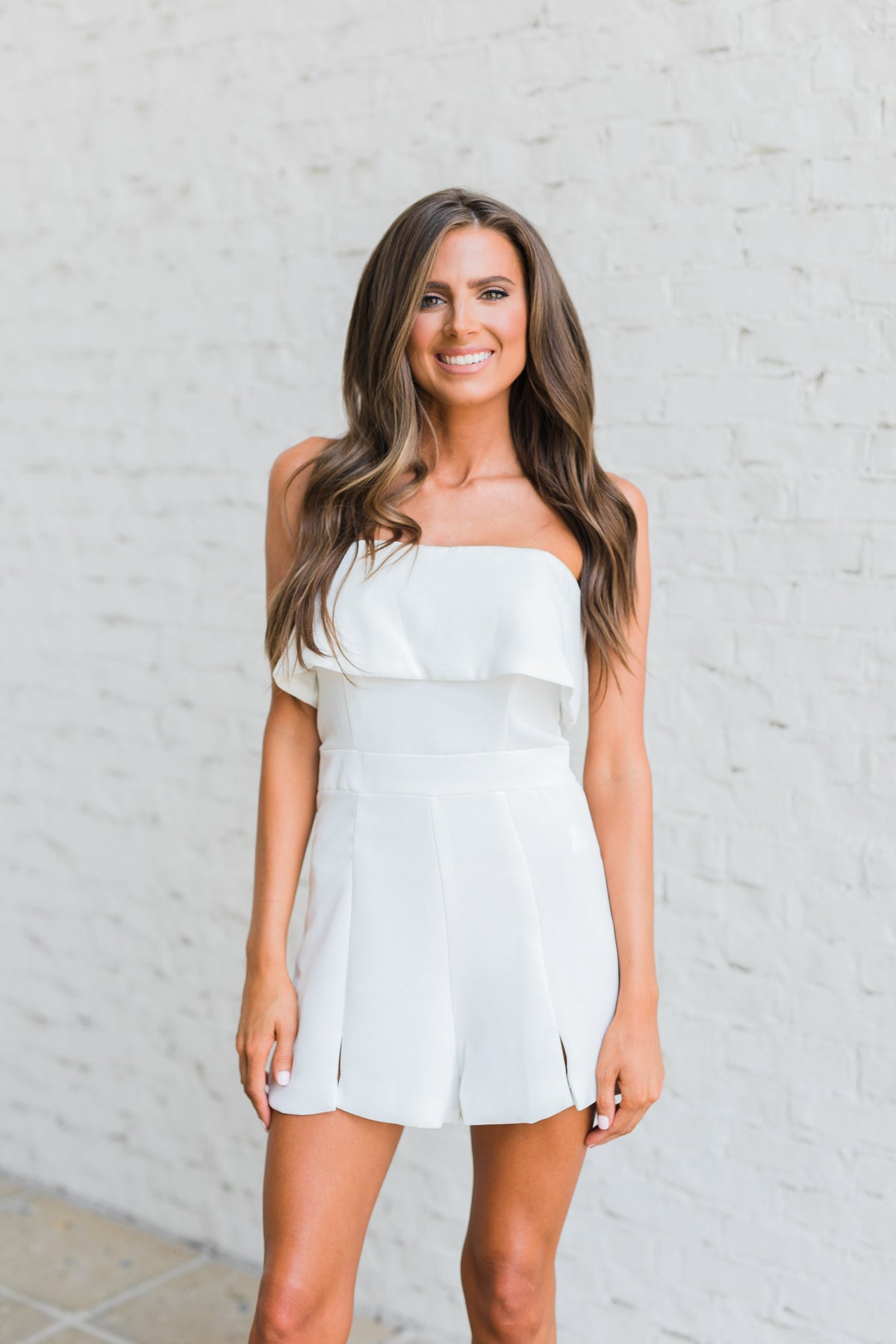Look My Way Romper-White