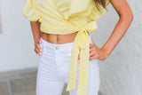Ruffled Wrap Top-Yellow
