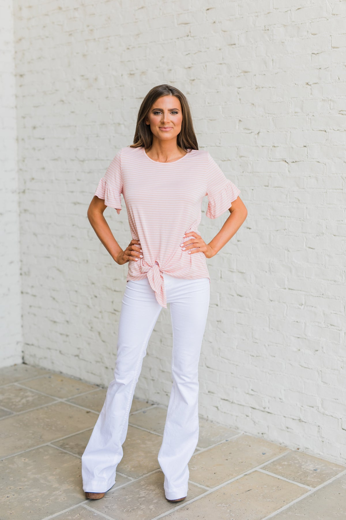 Ruffle Sleeve Stripe Tie Top-Blush