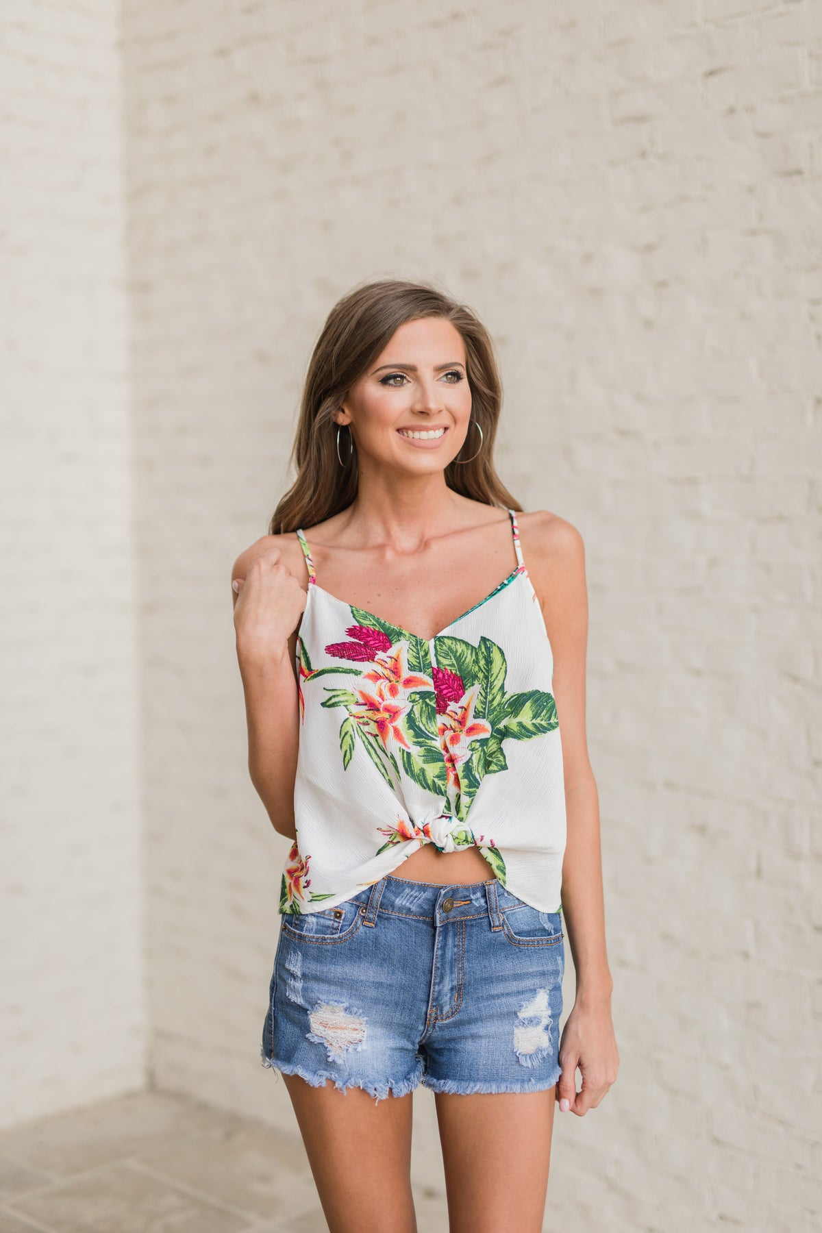 Front Knot Printed Tank
