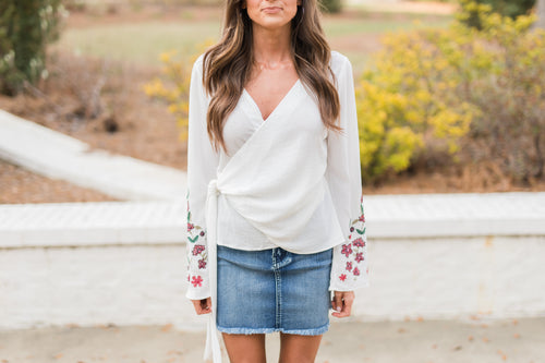Bell Sleeve Embroidered Wrap Top-Off White