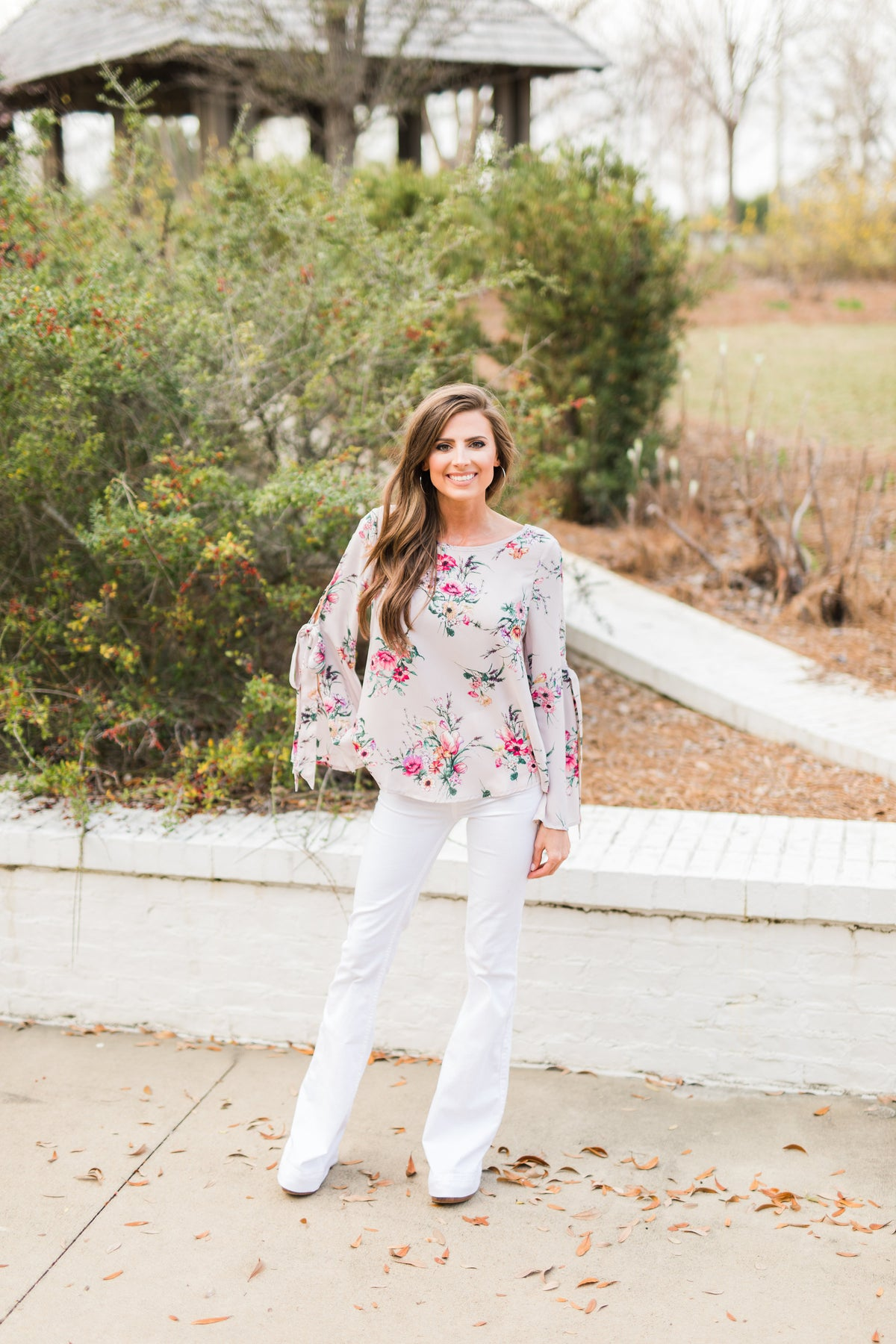 Floral Print Open Sleeve Top-Blush