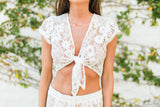 Lace Knot Top-White