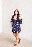 Navy Blossom Cold Shoulder Dress