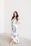Tropical Ruffle Maxi Dress-Ivory