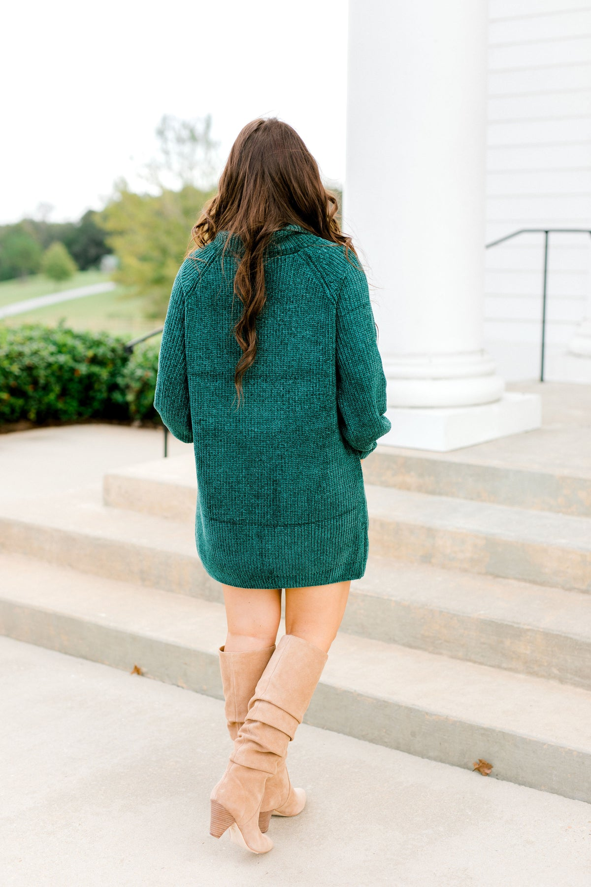 Cozy Turtle Neck Sweater Tunic - Green