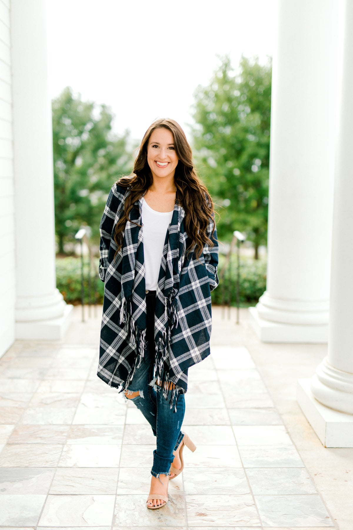 Plaid Fringe Cotton Cardigan