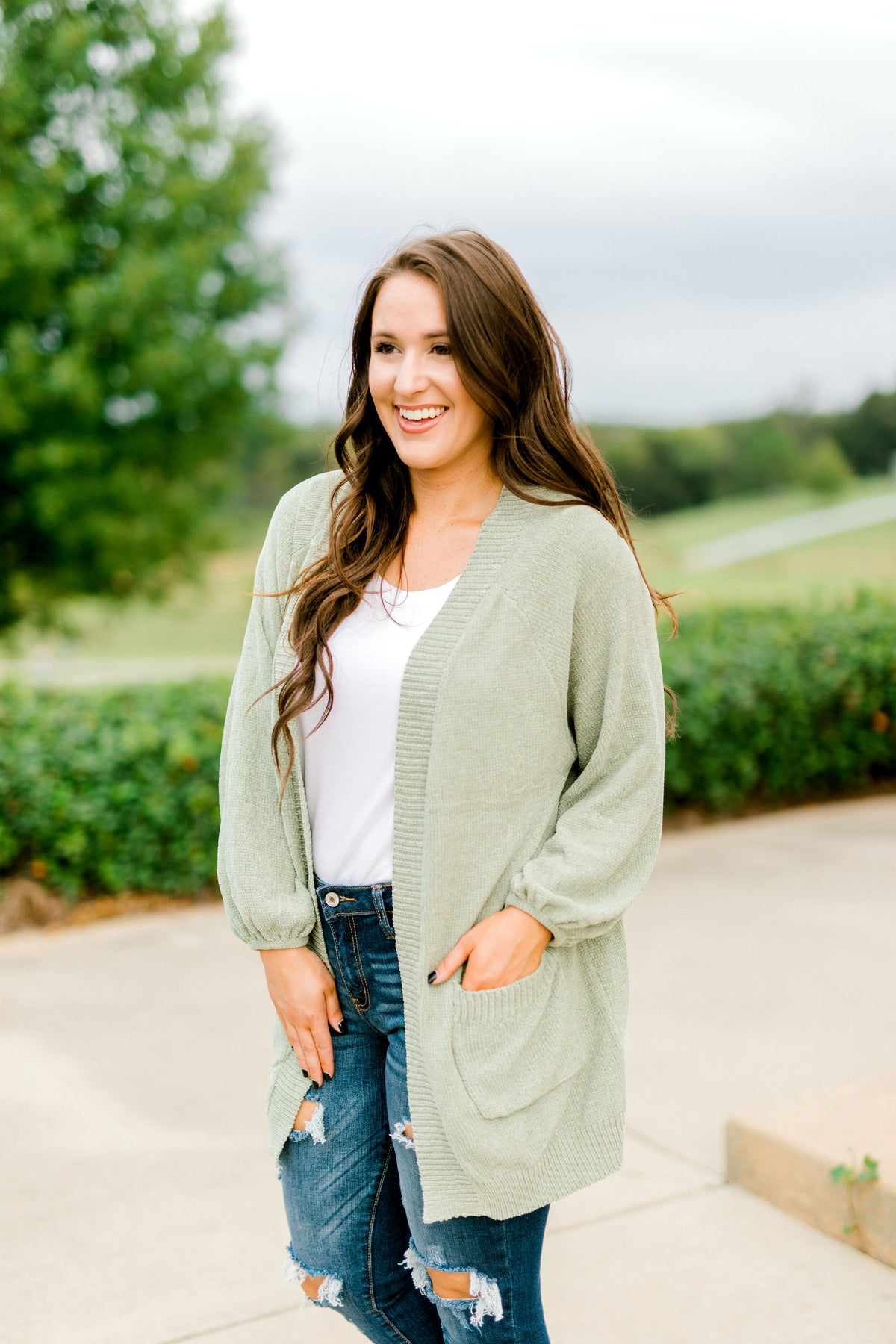 Chenille Light Weight Cardigan - Olive