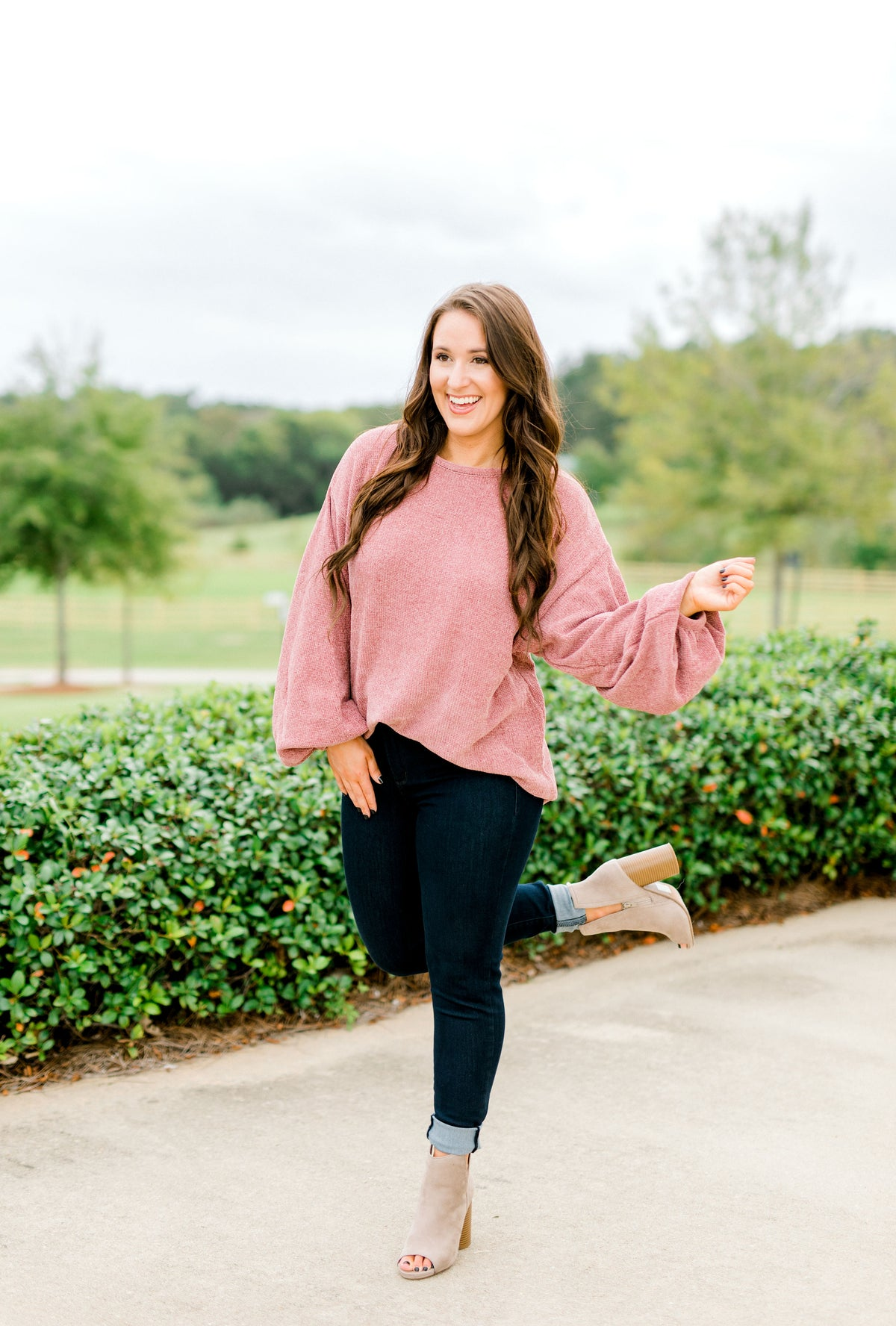 Chenille Puff Sleeve Sweater - Rose